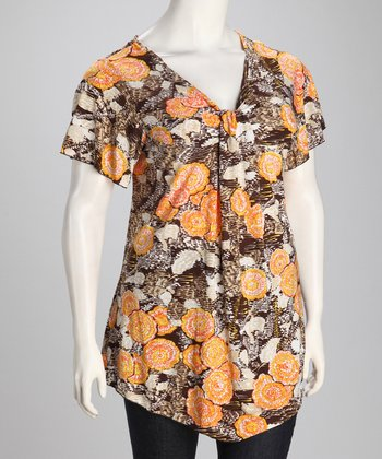 Brown Floral Plus-Size Angel-Sleeve Tunic