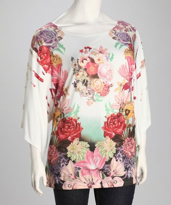 Ivory Floral Plus-Size Drape Sleeve Top