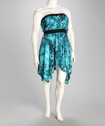 Turquoise Floral Strapless Plus-Size Sidetail Dress
