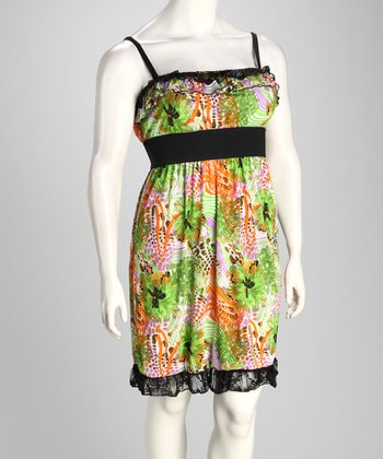 Lime & Orange Floral Plus-Size Empire-Waist Dress