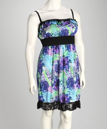 Purple & Blue Floral Plus-Size Empire-Waist Dress