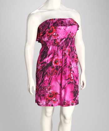 Magenta Floral Wave Ruffle Strapless Dress - Plus