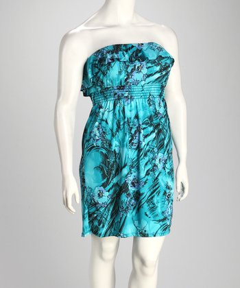 Turquoise Floral Wave Ruffle Strapless Dress - Plus