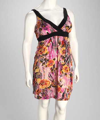 Magenta & Yellow Zebra Rose Plus-Size Empire-Waist Dress