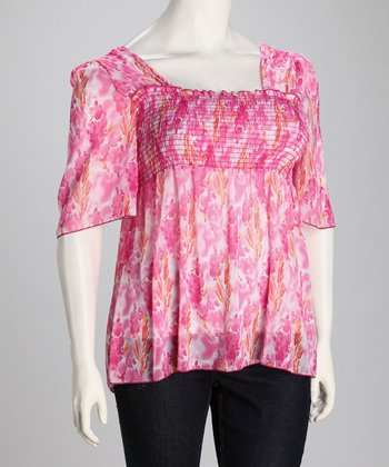 Fuchsia Sheer Shirred Plus-Size Angel-Sleeve Top