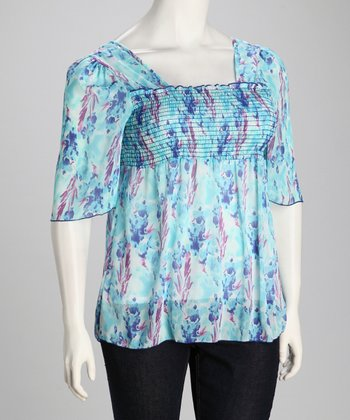 Turquoise Sheer Shirred Plus-Size Angel-Sleeve Top