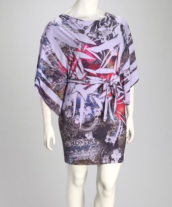 Lavender Sublimation Drape Sleeve Dress - Plus