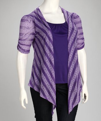 Purple Pattern Stripe Layered Top - Plus