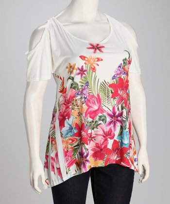 White Flower Sublimation Cutout Top - Plus