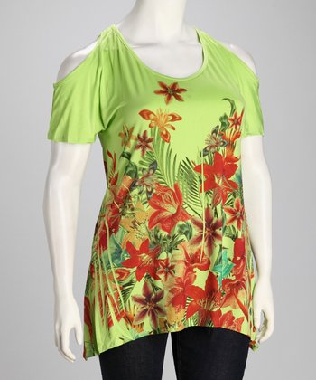 Coral Flower Sublimation Plus-Size Angel-Sleeve Top