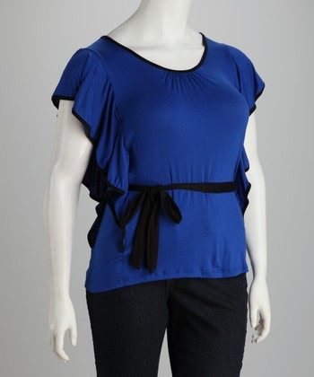 Royal Tie-Waist Angel-Sleeve Top - Plus