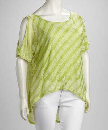 Lime Stripe Cutout Hi-Low Top - Plus
