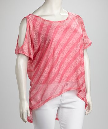 Pink Sheer Stripe Cutout Hi-Low Top - Plus
