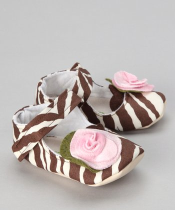 Brown & Pink Mocha Zebra Mary Jane - Kids