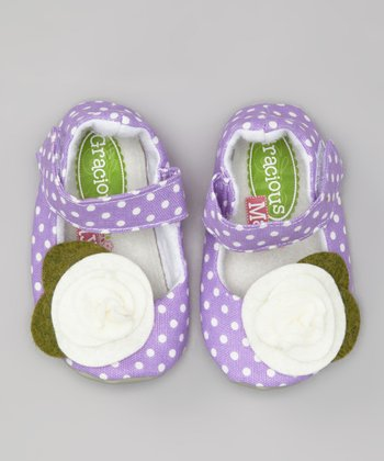 Purple & White Grape Dots Mary Jane - Kids