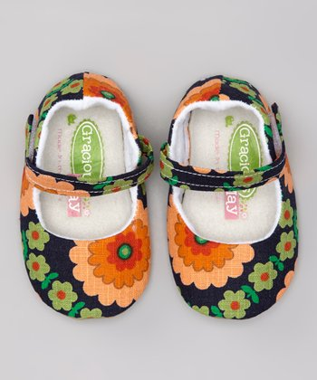 Navy & Orange Flower Power Mary Jane - Kids