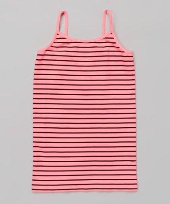 Neon Pink & Black Stripe Camisole