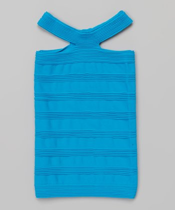 Neon Turquoise Yoke Top