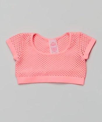Neon Pink Fishnet Crop Top
