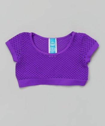Neon Purple Fishnet Crop Top