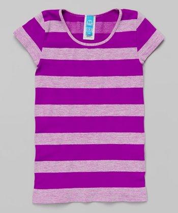 Neon Purple Heather Stripe Tee