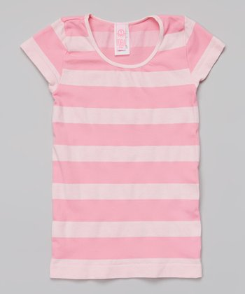 Pink Heather Stripe Tee