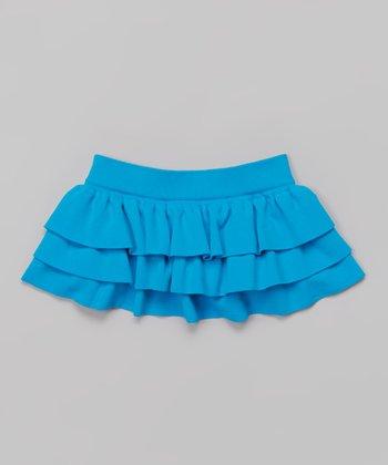 Turquoise Tiered Ruffle Skirt