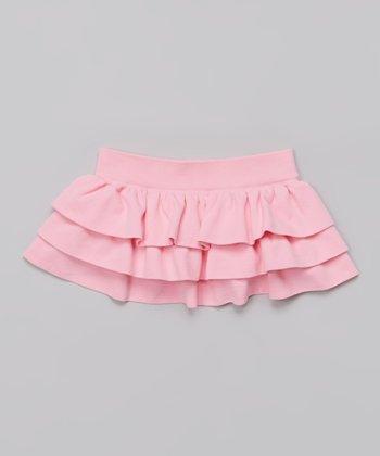 Pink Tiered Ruffle Skirt
