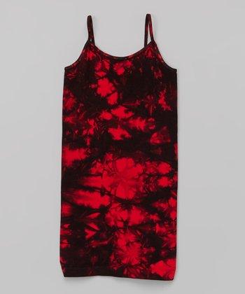 Red & Black Tie-Dye Dress