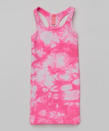 Neon Pink & White Tie-Dye Racerback Dress