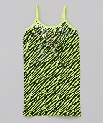 Neon Yellow Zebra Peace Camisole