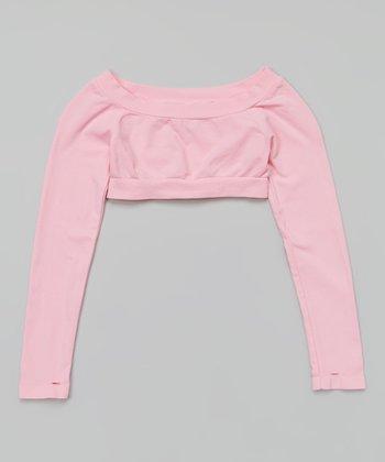 Pink Long-Sleeve Crop Top