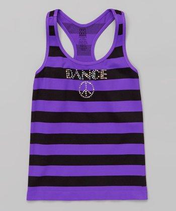 Neon Purple Rhinestone 'Dance' Stripe Tank
