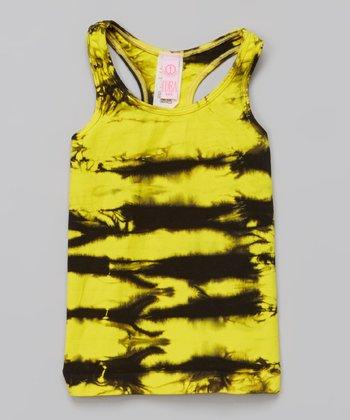 Yellow & Black Tie-Dye Tank