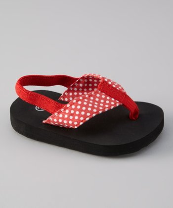 Red Polka Dot Ankle-Strap Sandal