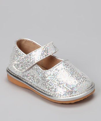 Silver Sparkle Squeaker Mary Jane