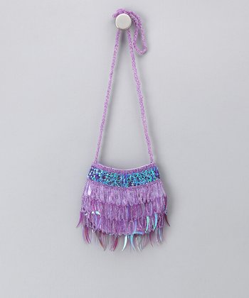 Purple Sparkle Fringe Shoulder Bag