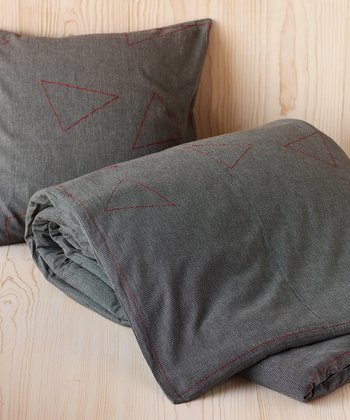 Dark Gray Embroidered Pebbled Organic Duvet Cover