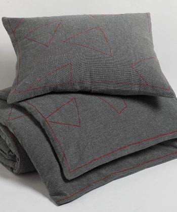 Dark Gray Embroidered Pebbled Organic Sham