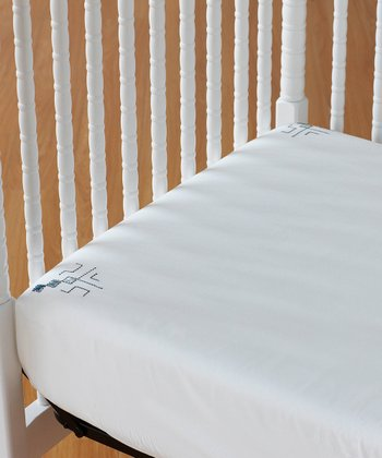 White & Dust Aqua Embroidered Organic Fitted Crib Sheet