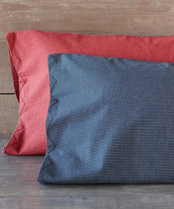 Mini Check Organic Pillowcase - Set of Two