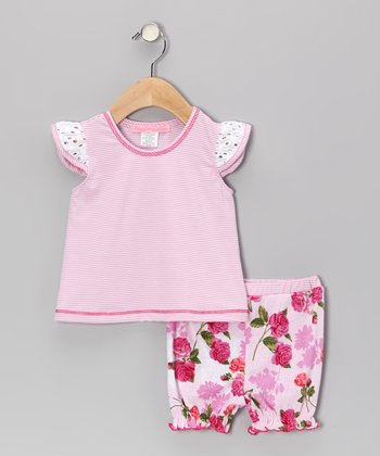 Dark Pink Romance Flutter Top & Bloomers - Infant