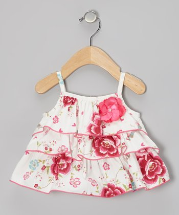 White Spring Blossom Ruffle Top - Toddler & Girls