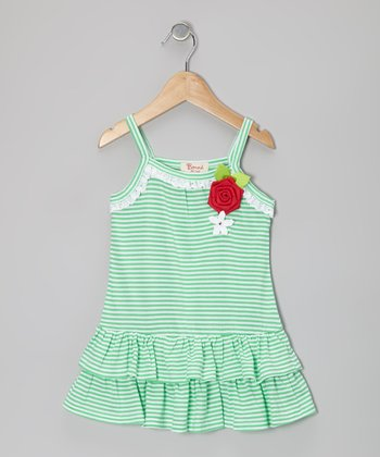 Green Stripe Lace Rose Ruffle Dress - Toddler & Girls
