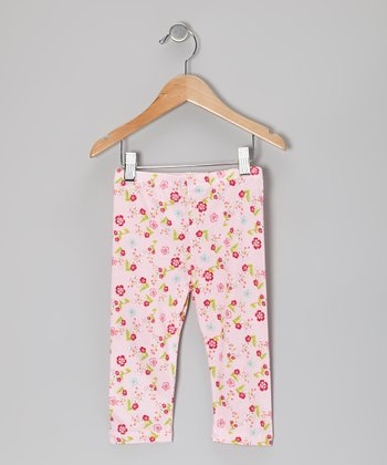 Pink Spring Ditsy Cropped Leggings - Toddler & Girls