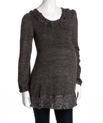 Black Rosette Maternity Sweater Dress