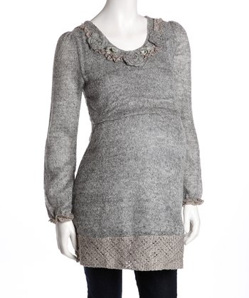 Gray Rosette Maternity Sweater Dress
