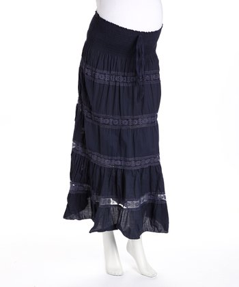 Navy Maternity Convertible Peasant Skirt