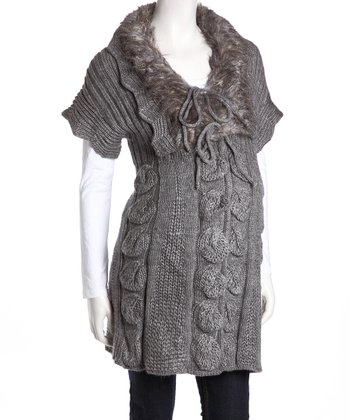 Gray Faux Fur Maternity Sweater