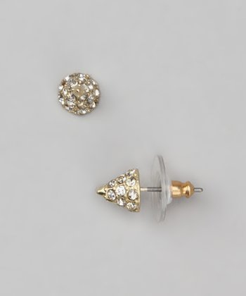 Gold & Swarovski Crystal Spike Stud Earrings